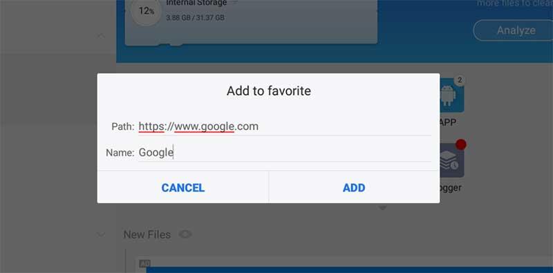 adding google to favorites