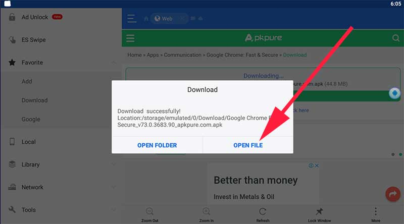 Cick open file to open chrome apk